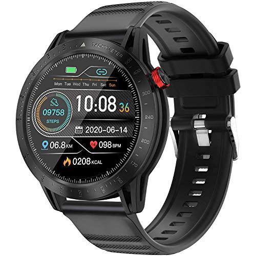 DOOK Relojes Inteligentes Hombre Llamada Bluetooth con Pulsómetro,Podómetro,Monitor de Sueño,10 Modos de Deportes Cronómetro y GPS,Presión Arterial,Smartwatch Inteligentes Hombre para iOS y Android