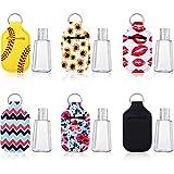 6 Pezzi 30 ml Bottiglie da Viaggio in Plastica Vuote Riutilizzabili Bottiglie con Tappo a Scatto e 6 Pezzi Portachiavi Supporti Portachiavi Supporto Elastico Impermeabile in Neoprene per Contenitore