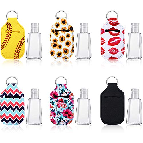 6 Piezas 30 ml Botellas Recargables Vacías de Viaje de Plástico con Tapa Abatible y 6 Piezas Titular de Llavero Porta Llaveros Soporte de Neopreno Impermeable Elástico para Contenedor Accesorios Viaje