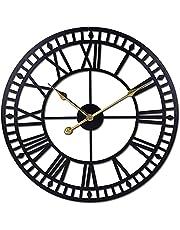 TNFXKGVNE Ponadwymiarowy zegar ścienny cichy nietykający metal cyfry rzymskie nowoczesny dekoracyjny zegar ścienny do salonów, biur, barów, hoteli dekoracja ścienna do salonu 80 cm złoty