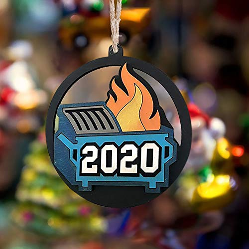 Wacinten 1PC 2020 Dumpster Fire 2020 Christmas Tree Ornament with Rope Funny Xmas Gift Limited Edition, Christmas Ornaments Christmas Pendant Wood Handmade Merry Christmas Hanging Ornament