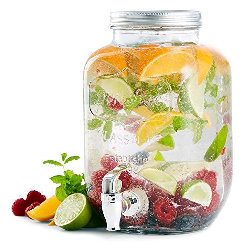 8L Getränkespender XXL Wasserspender Dispenser Glas Behälter Zapfhahn in transparent