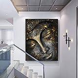 Cabeza del Señor Buda Estatua con Hojas Doradas Decoración para el hogar Cuadros de Pared para Sala Pintura en Lienzo Obra de arte-80x100cmx1 Piezas sin Marco