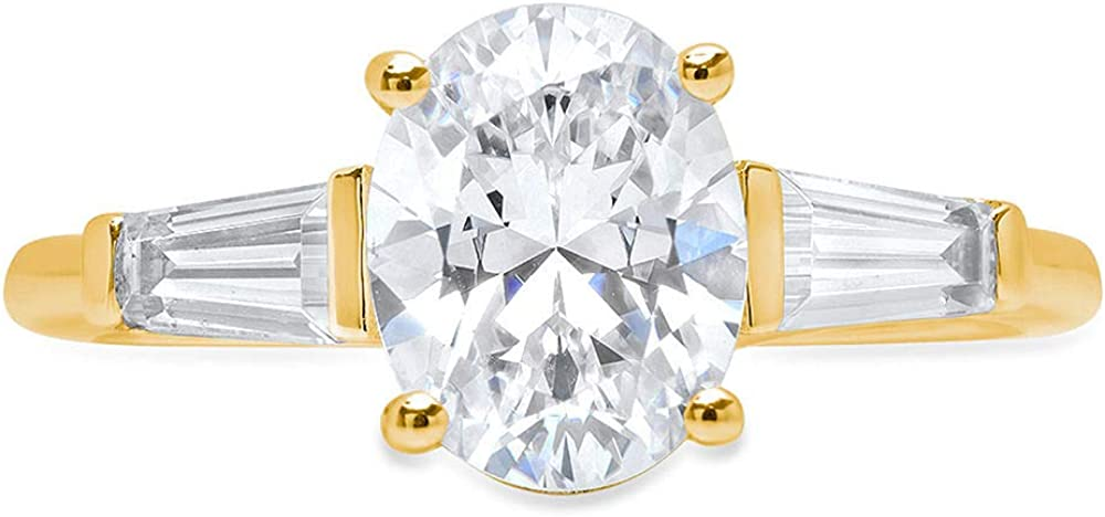 Clara Pucci 2.6 ct Oval Baguette cut 3 stone Solitaire Accent Stunning Genuine Flawless White Lab Created Sapphire Gem Designer Modern Statement Ring Solid 18K Yellow Gold