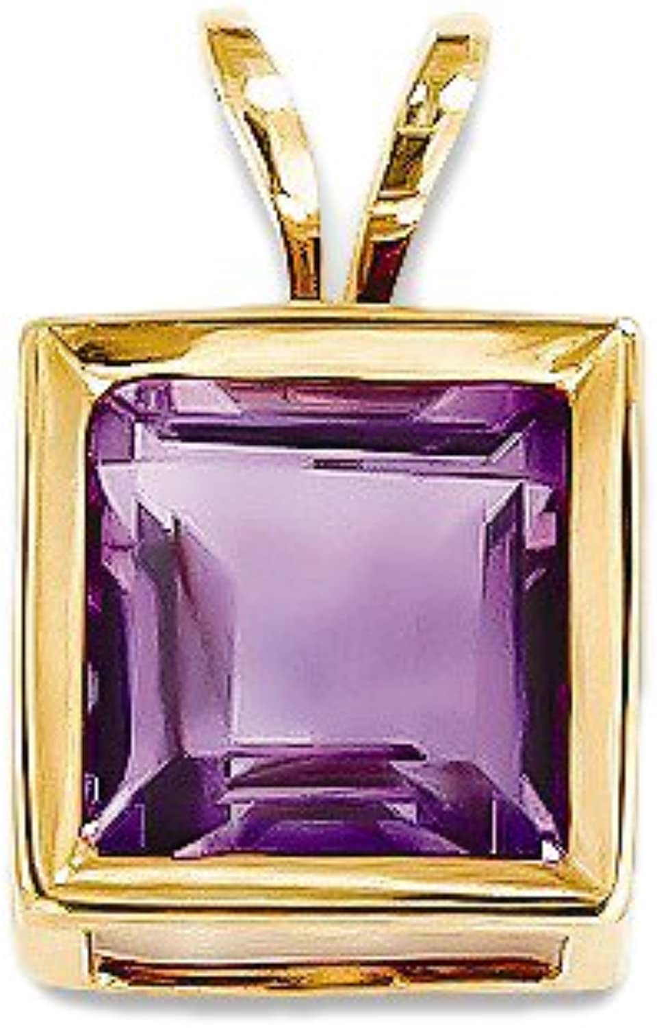 Amethyst Pendant in Yellow gold  14kt  Princess Shape  Glossy Polish  Cute