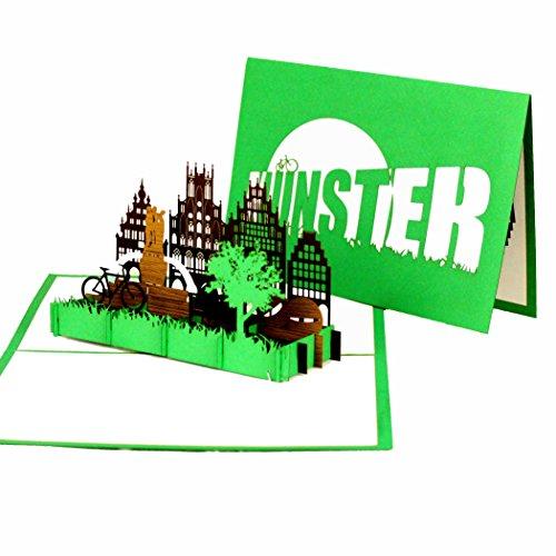 3D Pop Up Karte Münster - Grußkarte Münster - Münsterland, Fahrradkarte, Reisegutschein, Städtetrip und Fahrradtour Münster, handgefertigte Geschenkkarte