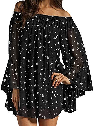 ZANZEA Mujer Vestido Corto Manga Larga Sin Hombros Estrella Camisa Casual Camiseta Fiesta Túnica Blusa Primavera Verano Estrella-Negro 3XL