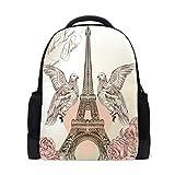 Mochila Vintage de la Torre Eiffel para Viajes, para el Colegio, para el Libro, la Paloma y la Rosa, para el día al Aire Libre, para Negocios, Senderismo, Camping, para Estudiantes, Mujeres y Hombres