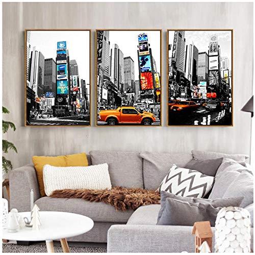 kldfig Modern Zwart en Wit Taxi bus straat muurschilderingen canvas schilderij kunst New York City-poster voor de woonkamer muurschilderij -30 * 40 cm niet ingelijst - 3 stuks