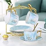 ZHSGV 200 ml Bone China Taza y platillo de la fantasía del Bosque de cerámica Taza de té Conjunto con Acero Inoxidable 304 Cuchara (Color : 4 Sets with Holds)