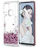 LeYi Funda Samsung Galaxy A21S Silicona Purpurina Carcasa con HD Protector de Pantalla, Transparente Cristal Bumper Telefono Gel TPU Fundas Case Cover para Movil A21S ZX Oro Rosa