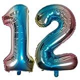 DIWULI, Globos de número XL, número 12, Globos iridiscentes de Color Azul Arco Iris, Globos de número, Globos de Papel de Aluminio número años, 12 cumpleaños, Fiesta, decoración
