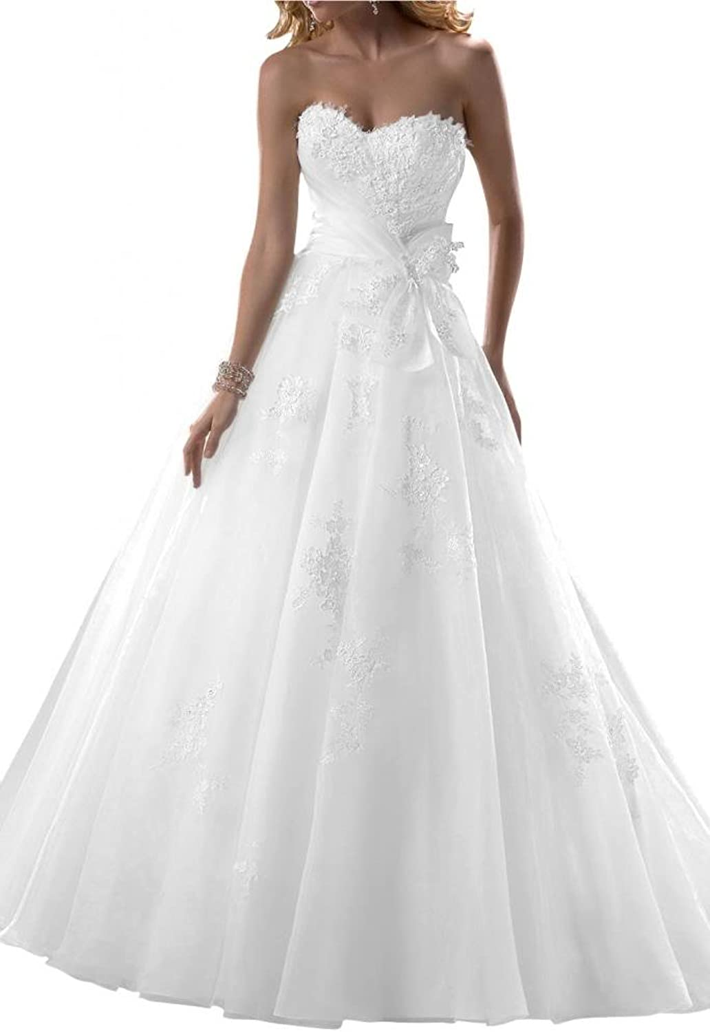 Angel Bride Sweetheart ALine Wedding Dresses Organza Long Dresses