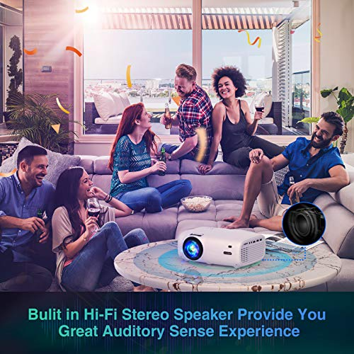 """VILINICE Mini Projector, 6000L Projector for Outdoor Movie with 100Inch Projector Screen 1080P and 240"""" Display Supported , Home Cinema Portable Projector Compatible with TV Stick, PS4, HDMI, VGA, USB"""