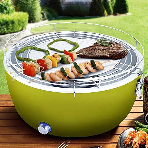 Barbecue Portatile Senza Fumo da Tavolo a Carbone Carbonella Ventilato Griglia in Acciaio Inox Alimentazione a Batteria o USB con Powerbank Diametro 36 cm (Verde)