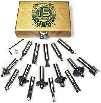 MLCS 8377 15-Piece Router Bit Set with Carbide-Tipped 1/2-Inch Shanks.