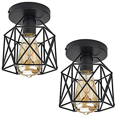ZHMA Semi Flush Mount Ceiling Light Fixture for Farmhouse Kitchen, Hallway, Porch etc,Black Rustic Industrial Style, Ceiling Light Covers for E26 Bulb.2 Pack