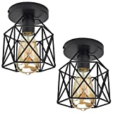 ZHMA Semi Flush Mount Ceiling Light Fixture for Farmhouse Kitchen, Hallway, Porch, Black Rustic Industrial Style, Ceiling Light Covers for E26 Bulb. 2 Pack
