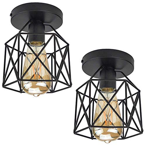 ZHMA Semi Flush Mount Ceiling Light E26 E27 Retro Black Industrial Ceiling...