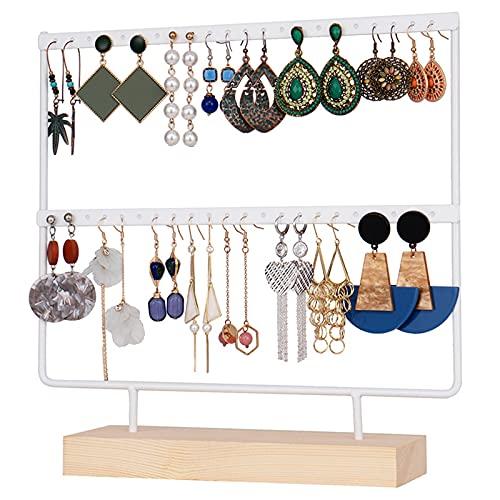 ASDF Organizador Joyas Expositor Pendientes Madera Y Metal Joyero Soporte Vintage Jewelry Organizer, Joyeros Colgador Pendientes,Blanco