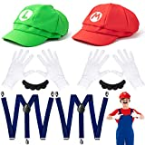 VERSRH 10PCS Mario Cosplay Costume, Luigi Costumes Accessory, Mario and Luigi Hats Set Dress Up, Super Brothers Costume Role Play, Set of 2 Caps, 2 Mustaches, 2 Elastic Strap Gripper Clasps, 4 Gloves