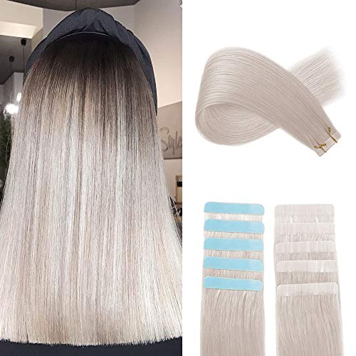 YILITE Colorful Tape in Hair Extensions Remy Human Hair 10pcs 20g Silver Tape Hair 16 inches