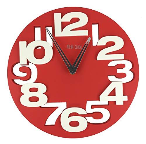 3 D 8808 Design Horloge Murale Radiocontrolée en Cuisine Faire Pilotée Rouge/Blanc