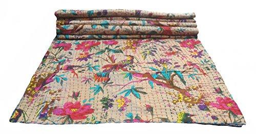 colors of rajasthan Indian Kantha Blanket, Bed Cover, King Kantha Bedspread, Bohemian Bedding Kantha Hippie Quilts (Beige)