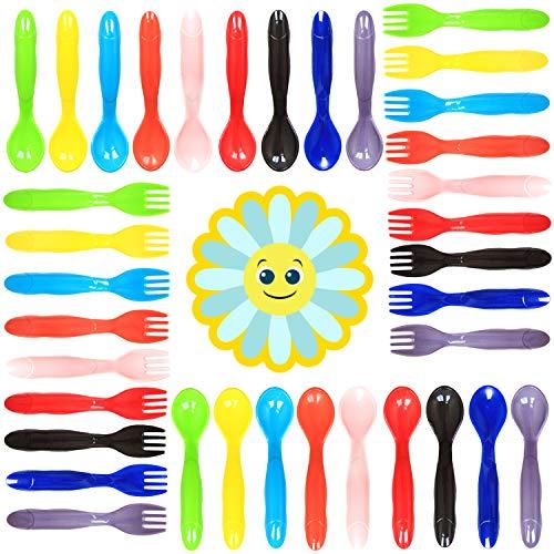 Youngever 36 Pcs Plastic Toddler Utensils, Set of 18 in 9 Assorted Colors, Plastic Kids Forks Kids Spoons, Dishwasher Safe, Toddler Silverware, Kids Plastic Cutlery Set, 9 Assorted Colors