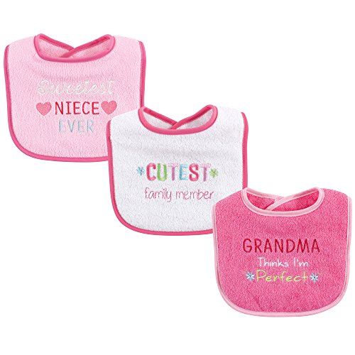 Luvable Friends Unisex Baby Cotton Drooler Bibs with Fiber Filling, Girl Family, One Size