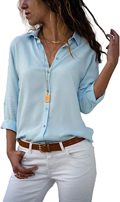 Decai Camisa Mujeres Blusa Casual Cuello V Camiseta Túnica Color Puro Camisa de Gasa Mangas Largas para Mujer Sexy Camisetas Tops