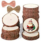 5ARTH Natural Wood Slices - 30 Pcs 2.4-2.8 inches Craft Unfinished Wood kit Predrilled with Hole Wooden Circles for Arts Wood Slices Christmas Ornaments DIY Crafts