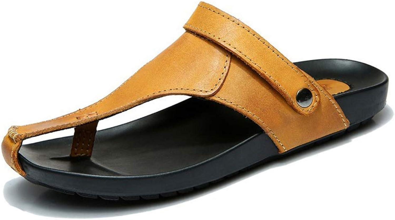 ZHRUI Men Leather Sandals Outdoor Beach shoes Breathable Slippers Summer Flip Flops (color   Yellow, Size   9.5=44 EU)
