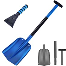 """NASUM Snow Shovel for Car Collapsible Shovel Up to 33"""" Aluminum Sport Utility Shovel with Extra Ice Scraper for Car Driveway Perfect Snow Shovel for Garden, Car, Camping and Other Outdoor Activities"""