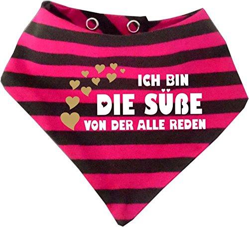 KLEINER FRATZ Kleiner Fratz Baby Halstuch gestreift (Farbe pink-grau) (Gr. 2 (74-98) Ich bin die Süße von der alle reden