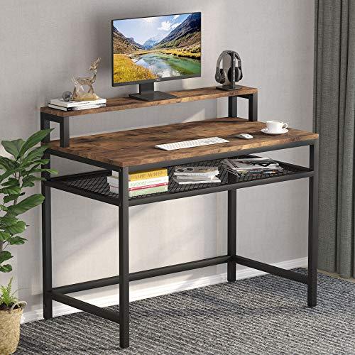 Tribesigns Escritorio de computadora escritura, estudio, computadora portátil con estante de almacenamiento y soporte para monitor, mesa de estación de trabajo industrial para oficina en casa