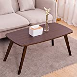EXILOT Coffe Table for Living Room Mid-Century Rectangular End Side Table Minimalist Sofa Table Modern Decor Furniture for Home Office,Espresso