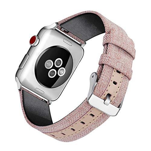 Fhony Correa Compatible con Apple Watch 38Mm 40mm 42mm 44mm Correas de Reloj Lona para Hombre y Mujer Correa de Repuesto para Iwatch Series 6/5/4/3/2/1 Correa de Tela Tejida Nylon,Rosado,38/40mm