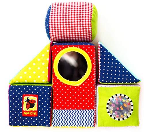 MACIK Bloques Blandos para niños – Juguetes apilar para bebés - Juguetes Desarrollo - Juego Cubos de motricidad Fina – Juguetes Suaves 6 Meses con sonajero bebé – Juguetes educativos 12-18 Meses