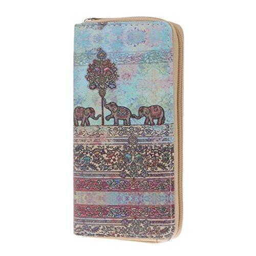Cuigu Damen Kupplung Lange Brieftasche Kreditkarteninhaber Dame Handtasche Handtasche Elefant Tasche (No.2)