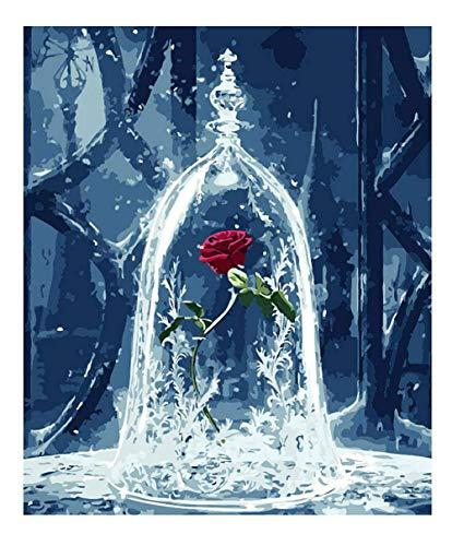 Malen Sie nach Nummer Kit, Diy Ölgemälde Wahre Liebe Rose Zeichnung Leinwand mit Pinsel Weihnachtsdekor Dekorationen Geschenke - 16 * 20 Zoll Rahmenlos
