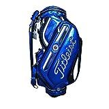 ボーケイ キャディバッグ PUレザー スポーツゴルフバッグ 撥水性高い 低重心 9.5ポケット 限定 (blue)