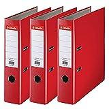 Esselte 624292 - Archivador con anillas (Capacidad 550 hojas, 3 unidades), rojo, 75 mm