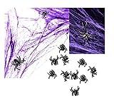 Decoración de Halloween de fiesta de 3 piezas, diseño de telaraña, color morado, negro