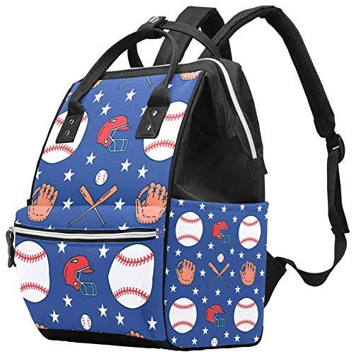 Blue Stars Sac à langer pour chauves-souris de baseball avec sac à langer isotherme pour femme, fille/maman