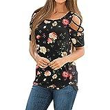 Masrin Damenoberteile Lässig Blumendruck Pullover Sommer Riemchen T-Shirt mit kalter Schulter Kurzarm Tunika Bluse mit Schlitz(L,Z6 Schwarz)
