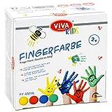Viva Decor® Lot de 4 peintures à doigts pour enfants - Couleurs vives (jaune, rouge, vert, bleu, 4 x 100 ml) - Peinture à doigts non toxique pour la maternelle, l'école, la thérapie et la maison.