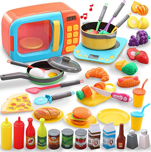 JOYIN 45 PCS Microwave Cooking Play Toy with Pretend Cutting Food Toy & Utensil Kitchen playset for Kids