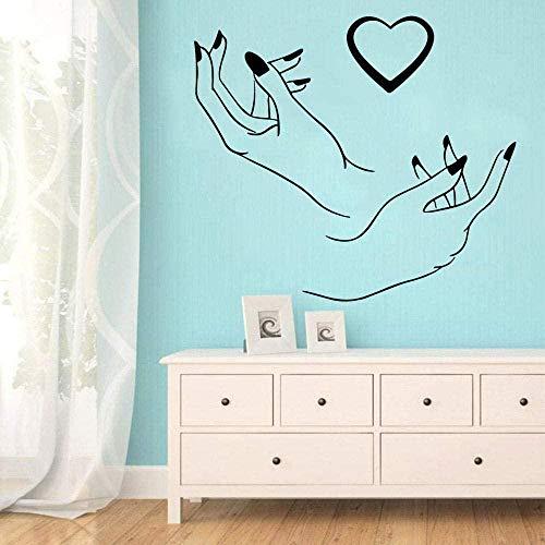Lindo salón de uñas corazón pegatina de pared adhesivo artístico papel tapiz decoración sala de estar dormitorio vinilo Mural calcomanía 43x50cm