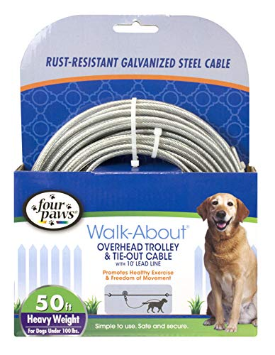 Four Paws Heavy Weight Trolley Exerciser Silver 50 Feet